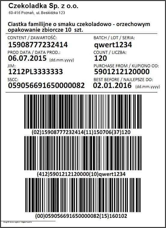 Przykładowa etykieta logistyczna z kodami GS1