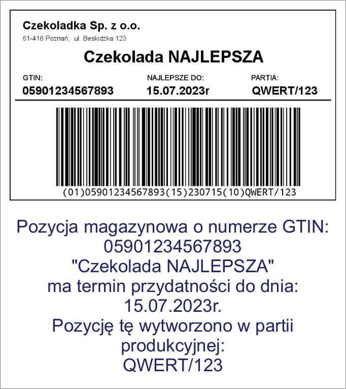 Typowa etykieta produktowa z kodem GS1-128
