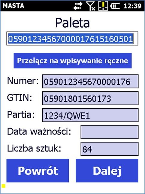 Dane na terminalu po zeskanowaniu kodów kreskowych