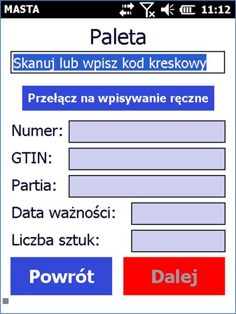 Dane na terminalu przez zeskanowaniem kodów kreskowych