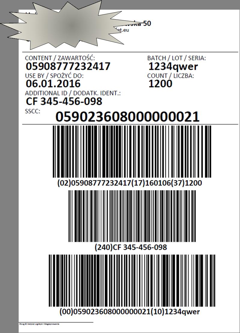 Etykieta logistyczna utworzona w systemie WMS MASTA
